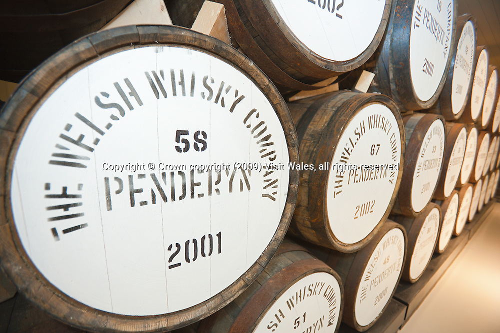 Casks of whisky at distillery<br /> Penderyn Welsh Whisky<br /> South<br /> Food And Drink