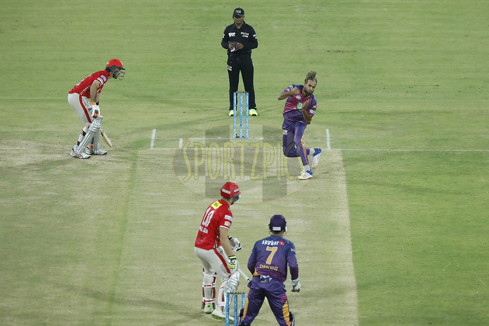Imran Tahir of Rising Pune Supergiant react after deliver   bowls  during match 4 of the Vivo 2017 Indian Premier League between the Kings X1 Punjab and the rising Pune Supergiant held at the Holkar Cricket Stadium in Indore, India on the 8th April 2017<br /> <br /> Photo by Arjun Singh - IPL - Sportzpics