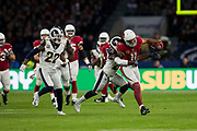 Arizona Cardinals Wide Receiver (11) Fitzgerald, Larry is tackled by Los Angeles Rams Free Safety (20) Joyner, Lamarcus during the International Series match between Arizona Cardinals and Los Angeles Rams at Twickenham, Richmond, United Kingdom on 22 October 2017. Photo by Jason Brown.