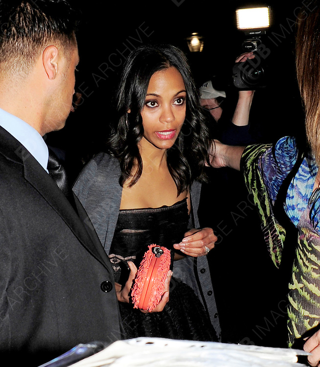 17.MAY.2011. CANNES<br /> <br /> ZOE SALDANA ARRIVING AT THE PAUL ALLEN OCTOPUSSY PARTY AT THE CANNES DU PORT DURING THE 64TH CANNES INTERNATIONAL FILM FESTIVAL 2011 IN CANNES, FRANCE<br /> <br /> BYLINE: EDBIMAGEARCHIVE.COM<br /> <br /> *THIS IMAGE IS STRICTLY FOR UK NEWSPAPERS AND MAGAZINES ONLY*<br /> *FOR WORLD WIDE SALES AND WEB USE PLEASE CONTACT EDBIMAGEARCHIVE - 0208 954 5968*