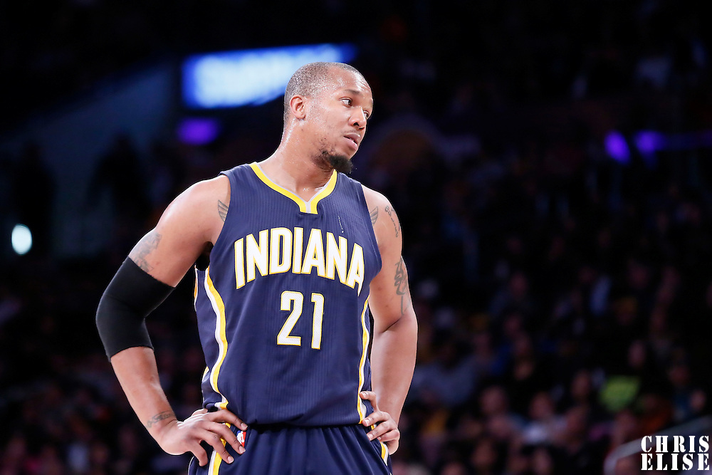 04 January 2014: Indiana Pacers forward David West (21) rests during the Los Angeles Lakers 88-87 victory over the Indiana Pacers, at the Staples Center, Los Angeles, California, USA.