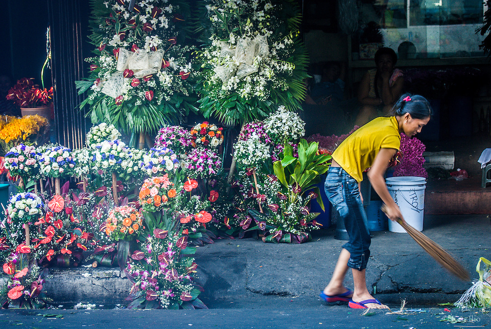 Dangwa Flower Market (aka Bulaklakan ng Maynila or Flower Market of Manila).  It is a fresh flower market located in Santa Cruz and Sampaloc, Manila with flowers coming from all over the country.