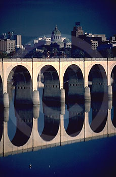 Harrisburg, PA, Skyline, Susquehanna River, RR Bridge Reflections