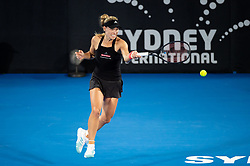 January 10, 2019 - Sydney, NSW, U.S. - SYDNEY, AUSTRALIA - JANUARY 10: Angelique Kerber (GER) hits a forehand at The Sydney International Tennis in the match between Angelique Kerber (GER) and Petra Kvitova (CZE) on January 10, 2018, at Sydney Olympic Park Tennis Centre in Homebush, Australia. (Photo by Speed Media/Icon Sportswire) (Credit Image: © Steven Markham/Icon SMI via ZUMA Press)