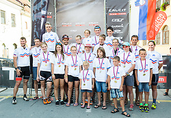National Champions during medal ceremony after the Cross Country XC Mountain bike race for Slovenian National Championship in Kamnik, on July 12, 2015 in Kamnik,  Slovenia. Photo by Vid Ponikvar / Sportida