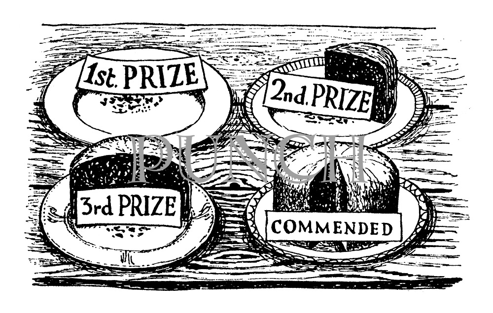 (Prizewinning cakes at a show eaten according to their ranking)