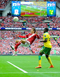 Middlesbrough's Jelle Vossen crosses with an over head kick  - Photo mandatory by-line: Joe Meredith/JMP - Mobile: 07966 386802 - 25/05/2015 - SPORT - Football - London - Wembley Stadium - Middlesbrough v Norwich - Sky Bet Championship - Play-Off Final