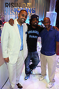 l to r: Alvin Bowles, Wale, and Steven Hill at the Grey Goose and BET Presents ' Rising Icons ' featuring Wale held at BET Studios on July 28, 2009 in New York City