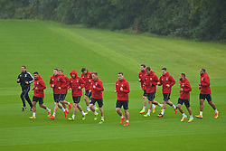 CARDIFF, WALES - Saturday, September 3, 2016: Wales players during a training session at the Vale Resort ahead of the 2018 FIFA World Cup Qualifying Group D match against Moldova. sports science coach Adam Owen, Neil Taylor, Simon Church, Ben Davies, Andy King, Sam Vokes, Paul Dummett, Emyr Huws, Tom Lawrence, Ashley 'Jazz' Richards, captain Ashley Williams. (Pic by David Rawcliffe/Propaganda)