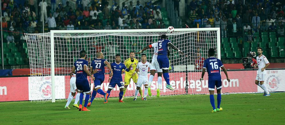 Bernard Mendy of Chennaiyin FC heads the ball during match 50 of the Hero Indian Super League between Chennaiyin FC and FC Goa held at the Jawaharlal Nehru Stadium, Chennai, India on the 5th December 2014.<br /> <br /> Photo by:  Sandeep Shetty/ ISL/ SPORTZPICS