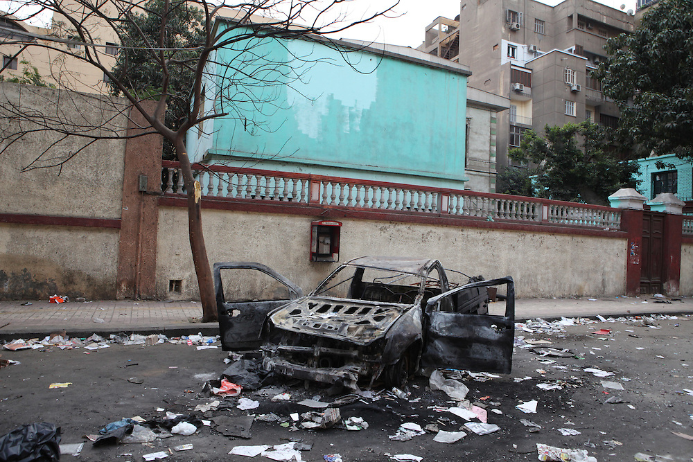 An area of downtown Cairo destroyed after protesters clashed with police on the previous day.