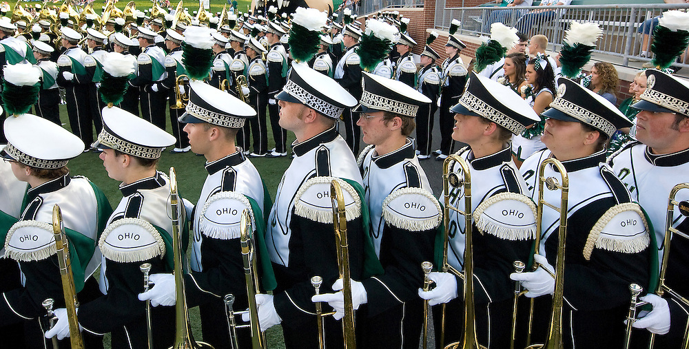 The Ohio University Marching Band prepare to take the field before the game opener on Saturday, September 5, 2009.