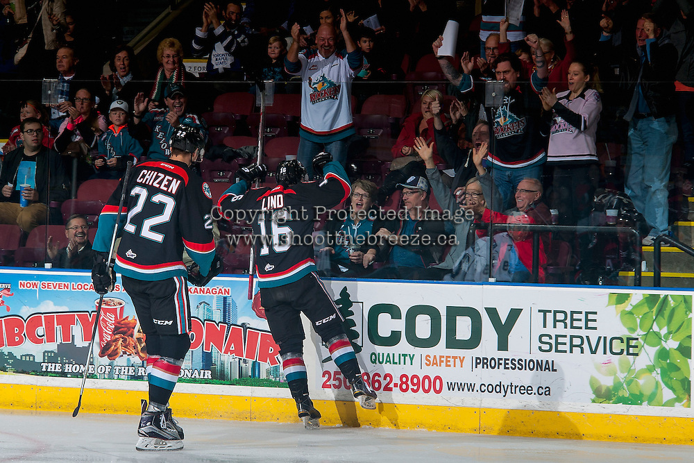 KELOWNA, CANADA - OCTOBER 26: Kole Lind #16 of the Kelowna Rockets scores a first period goal against the Victoria Royals and celebrates with fans on October 26, 2016 at Prospera Place in Kelowna, British Columbia, Canada.  (Photo by Marissa Baecker/Shoot the Breeze)  *** Local Caption ***