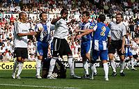 Photo: Steve Bond.<br />Derby County v RCD Espanyol. Pre Season Friendly. 04/08/2007. Keeper Iraizoz is injured after a challange by Claude Davis (C)