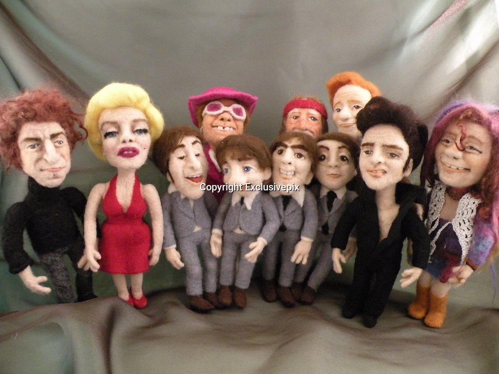 USA - 17/-8/2010 - Celebrity Sculptural needle felting by Kay Petal from Alaska has been creating amazing creations since 2007.all these creations are made by a single needle and wool.<br /> Photo Shows: L-r-&nbsp; Donald Trump, Marilyn Monroe, Ellen DeGeneres, Elton John, Conan O'Brien, Willie Nelson, Spock, John Travolta, Janice Joplin, Will Ferrell as ELF, Johnny Cash<br /> (&copy;Kay Petal/Exclusivepix)