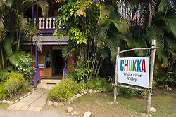 Chukka White River Valley sign in front of a gift shop, Ocho Rios, St. Ann, Jamaica