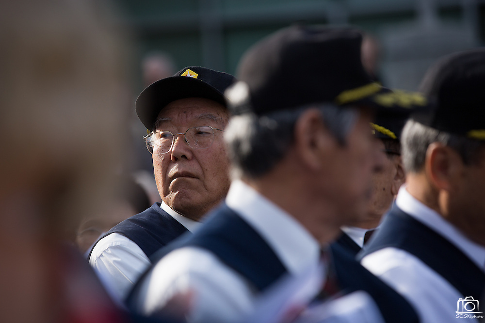 Dozens of Korean War veterans attend the Veterans Day Ceremony at Milpitas City Hall's Veterans Plaza in Milpitas, California, on November 11, 2013. (Stan Olszewski/SOSKIphoto)