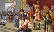 Establishment of the Normans in France.  Baptism of Rollo at Rouen in 911.  Rollo (c870-c932, Robert after conversion to Christianity) Viking warrior and first Duke of Normandy. France Nineteenth century Trade Card Chromolithograph