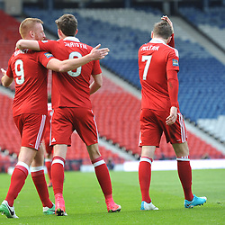 Ryan Christie is congratulated by Adam Rooney after scoring in the match between Hibs v Aberdeen, William Hill Scottish Semi Final, Hampden, Saturday 22 April 2017  (c) Angie Isac | SportPix.org.uk