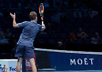Tennis - 2017 Nitto ATP Finals at The O2 - Day One<br /> <br /> Mens Doubles: Group Eltingh/Haarhus: Henri Kontinen (Finland) & John Peers (Australia) Vs Ryan Harrison (United States) & Michael Venus (Australia)<br /> <br /> John Peers (Australia) with a blocked return <br /> <br /> COLORSPORT/DANIEL BEARHAM