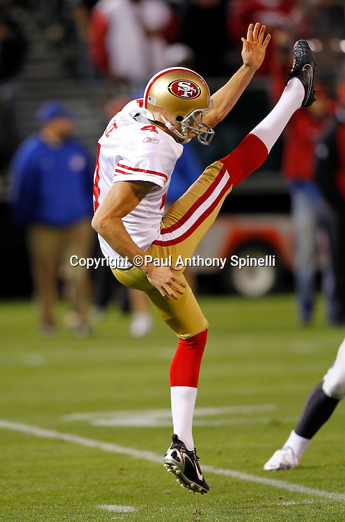 San Francisco 49ers punter Andy Lee (4) punts the ball during the NFL preseason week 3 football game against the Oakland Raiders on Saturday, August 28, 2010 in Oakland, California. The 49ers won the game 28-24. (©Paul Anthony Spinelli)