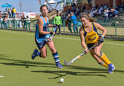 Lizanne Jacobs of Oranje MS(yellow) and Tamsyn Louw of Springfield during day two of the FNB Private Wealth Super 12 Hockey Tournament held at Oranje Meisieskool in Bloemfontein, South Africa on the 7th August 2016, <br /> <br /> Photo by:   Frikkie Kapp / Real Time Images