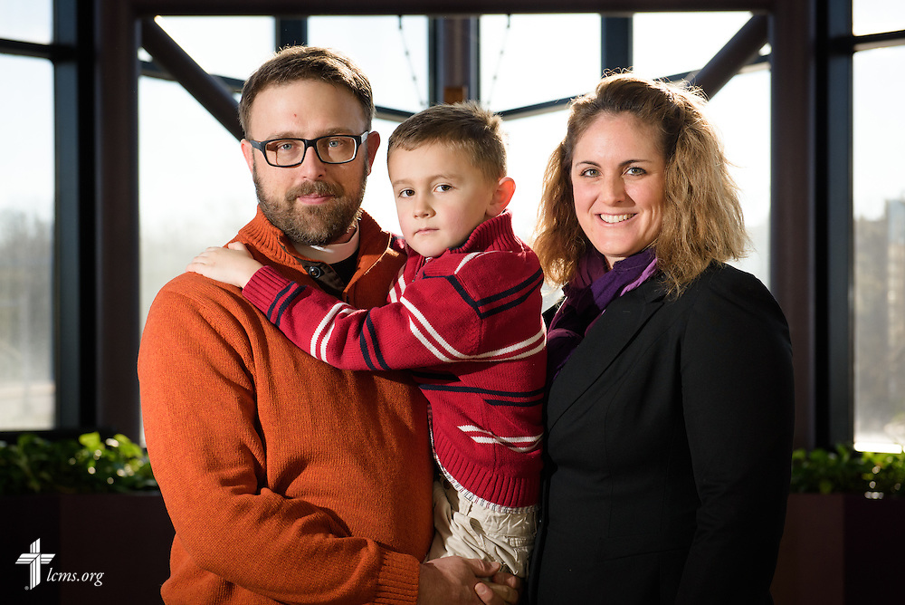 Portrait of the Rev. Adam DeGroot, new national missionary and pastor at Shepherd of the City Lutheran Church in Philadelphia, along his wife Deaconess Melissa DeGroot and son Knox at the International Center chapel of The Lutheran Church–Missouri Synod on Tuesday, Jan. 12, 2016, in Kirkwood, Mo. LCMS Communications/Erik M. Lunsford
