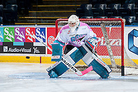 KELOWNA, CANADA - OCTOBER 14: Jackson Whistle #1 of Kelowna Rockets warms up against the Red Deer Rebels on October 14, 2015 at Prospera Place in Kelowna, British Columbia, Canada.  (Photo by Marissa Baecker/Shoot the Breeze)  *** Local Caption *** Jackson Whistle;
