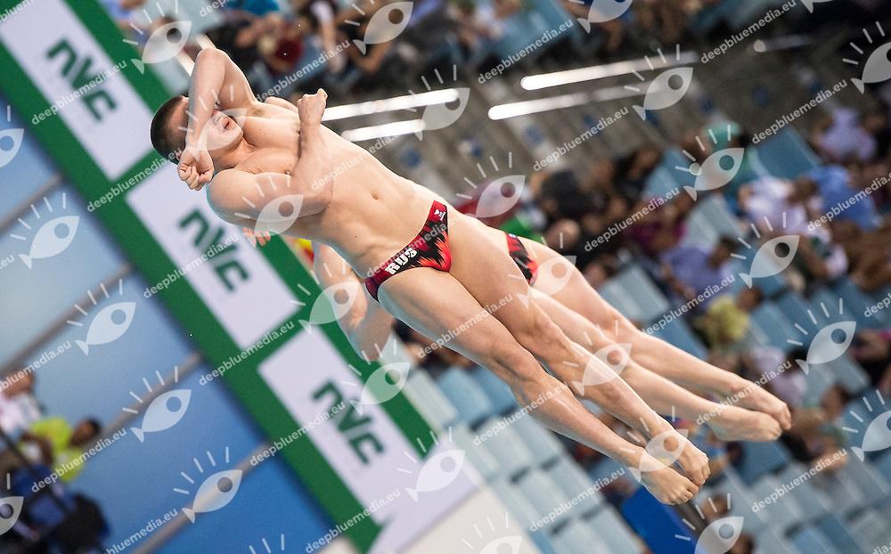 RUS ZAKHAROV Ilia KUZNETSOV Evgeny<br /> FINA/NVD Diving World Series 3 M. Men Synchro final<br /> Hamdan Bin Rashid Bin Mohammed Sport Complex<br /> Dubai 19 - 21  March 2015<br /> Day 1 - March 19 th <br /> Photo Giorgio Scala / Deepbluemedia