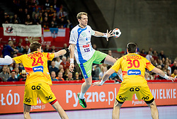 David Miklavcic of Slovenia during handball match between National teams of Slovenia and Spain on Day 4 in Preliminary Round of Men's EHF EURO 2016, on January 18, 2016 in Centennial Hall, Wroclaw, Poland. Photo by Vid Ponikvar / Sportida
