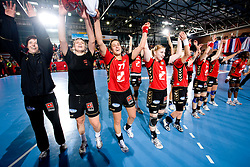 Players of Krim (from L Sergeja Stefanisin, Dragana Cvijic, Andrea Lekic, Tamara Mavsar) celebrate at handball match of Round 3 of Champions League between RK Krim Mercator and Hypo Niederosterreich, on November 8, 2009, in Arena Kodeljevo, Ljubljana, Slovenia.  Krim won 35:24. (Photo by Vid Ponikvar / Sportida)