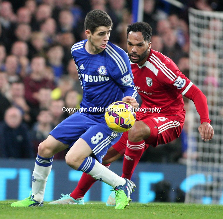 22 November 2014 - Barclays Premier League - Chelsea v West Bromwich Albion - Oscar of Chelsea is tracked by Joleon Lescott of Albion.<br /> <br /> <br /> Photo: Ryan Smyth/Offside