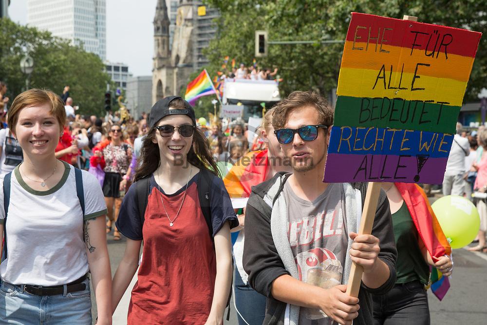 Berlin, Germany - 22.07.2017<br /> <br /> Christopher Street Day 2017 in Berlin. Hundreds of thousands of people protesting and celebrating the Berlin Pride<br /> <br /> Christopher Street Day 2017 in Berlin. Hunderttausende Menschen protestieren und feiern bei der Berlin Pride unter Motto &bdquo;Mehr von uns &ndash; jede Stimme gegen Rechts!&ldquo;<br /> <br /> Photo: Bjoern Kietzmann