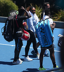 AU_1444757 - Perth, AUSTRALIA  -  Serena Williams training session at the RAC Arena in Perth, Western Australia<br />