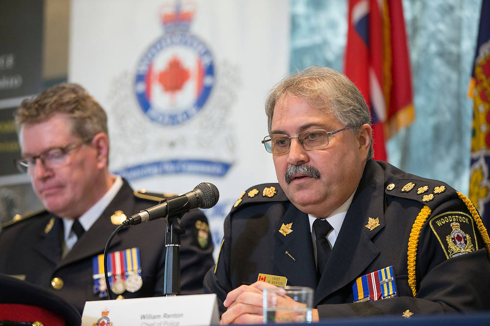 Woodstock, Ontario ---2016-10-25--- Woodstock Police Chief William Renton speaks at a press conference announcing charges being laid in the murder of 8 elderly long term care patients in Woodstock, Ontario, October 25, 2016.<br /> GEOFF ROBINS The Globe and Mail