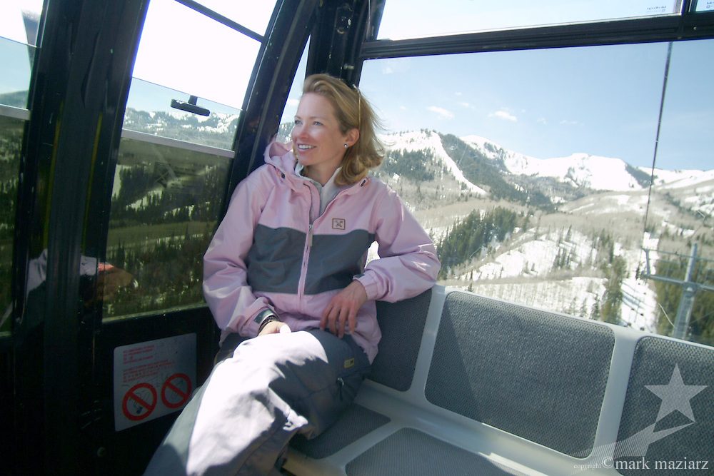 Jen in Flight of The Canyons gondola at The Canyons, Park City, Utah USA
