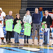 WNBA All-Star & 87ers goodwill ambassador Elena Delle Donne make an appearance at half time of a NBA D-league regular season basketball game between the Delaware 87ers and the Westchester Knicks (New York Knicks) Wednesday, Feb. 17, 2015 at The Bob Carpenter Sports Convocation Center in Newark, DEL