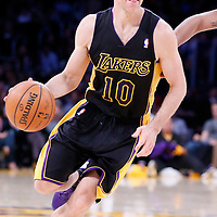 21 March 2014: Los Angeles Lakers guard Steve Nash (10) dribbles during the Washington Wizards 117-107 victory over the Los Angeles Lakers at the Staples Center, Los Angeles, California, USA.