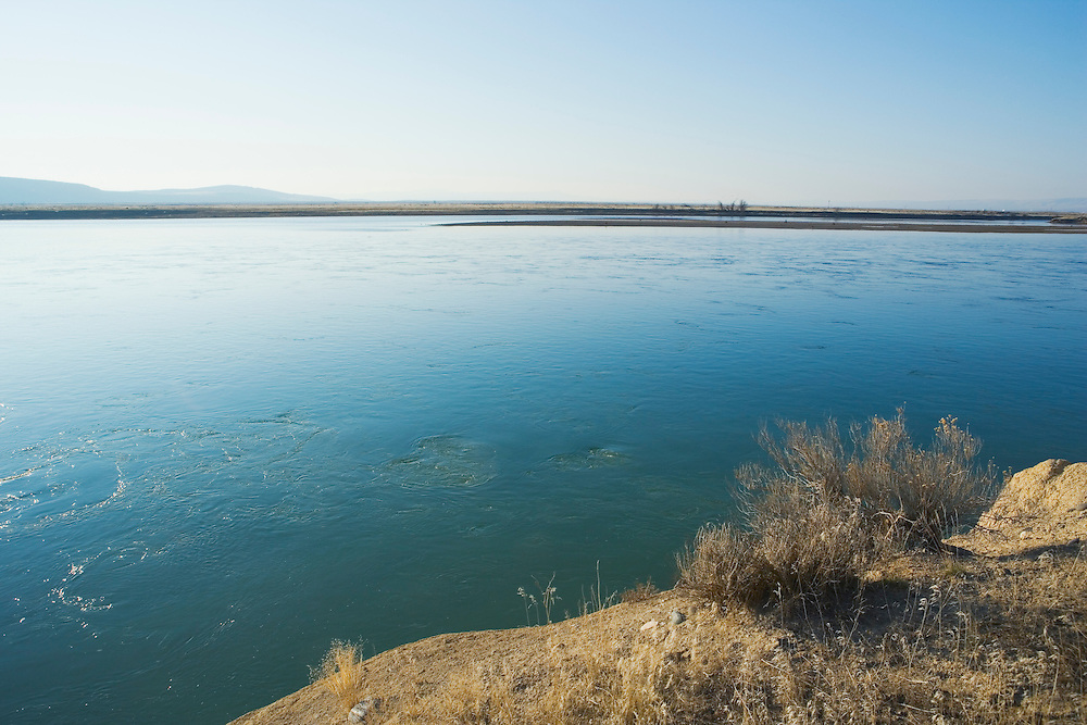 View of Columbia River in Hanford Reach area Eastern Washington USA.