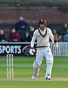 Batsman George Bartlett of Somerset watches the ball during the Specsavers County Champ Div 1 match between Somerset County Cricket Club and Kent County Cricket Club at the Cooper Associates County Ground, Taunton, United Kingdom on 7 April 2019.