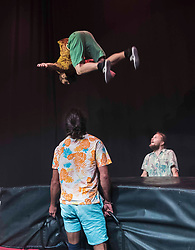 Underbelly launches its 20th year at the Edinburgh Festival with a preview hosted by Rhys Nicholson<br /> <br /> Pictured: Acrobatic group, Super Sunday
