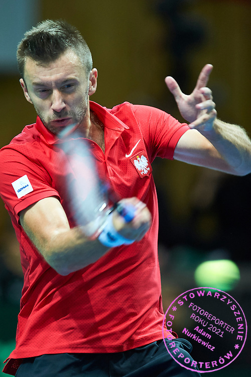 Michal Przysiezny of Poland competes during Davis Cup Tie World Group Play-off Poland v Slovakia at Gdynia Arena Hall in Gdynia, Poland.<br /> <br /> Poland, Gdynia, September 20, 2015<br /> <br /> Picture also available in RAW (NEF) or TIFF format on special request.<br /> <br /> For editorial use only. Any commercial or promotional use requires permission.<br /> <br /> Adam Nurkiewicz declares that he has no rights to the image of people at the photographs of his authorship.<br /> <br /> Mandatory credit:<br /> Photo by &copy; Adam Nurkiewicz / Mediasport