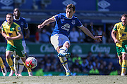 Leighton Baines (Everton) takes the penalty and scores, 2-0 to Everton during the Barclays Premier League match between Everton and Norwich City at Goodison Park, Liverpool, England on 15 May 2016. Photo by Mark P Doherty.
