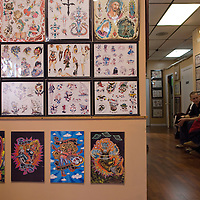 Baltimore Tattoo Museum houses exhibits on the history of tattooing and a working piercing and tattoo parlor, 1534 Eastern Avenue, Baltimore, Maryland, USA.