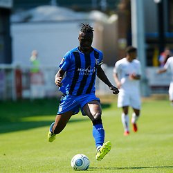 Gillingham's Gabriel Zakuani during the pre-season friendly match between Dover Athletic and Gillingham FC at Crabble Stadium, Kent on 21 July 2018. Gillingham ran out 3 to nothing winners. Photo by Matt Bristow.