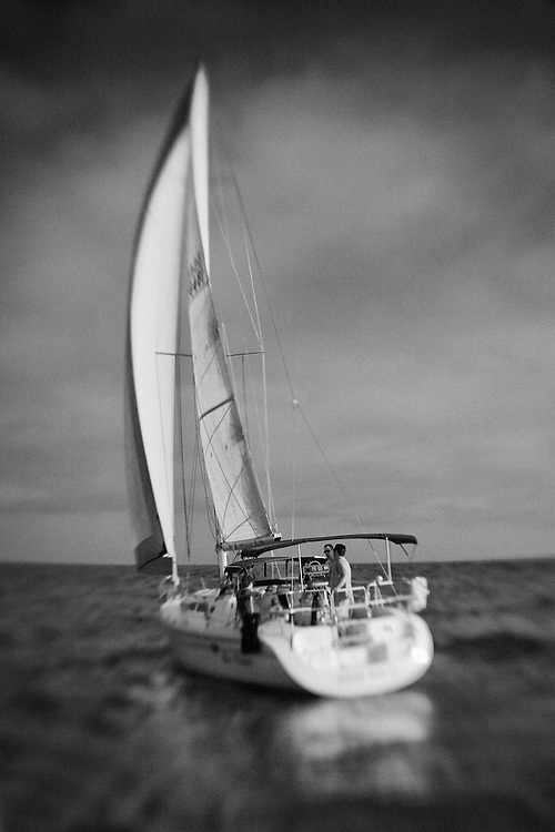 Sailboat Go Time Under Full Sail Stern View - Newport Beach, CA - Lensbaby - Black & White