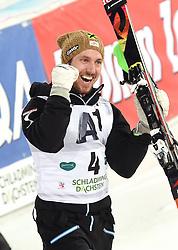 26.01.2016, Planai, Schladming, AUT, FIS Weltcup Ski Alpin, Schladming, Slalom, Herren, Siegerehrung, im Bild Marcel Hirscher (AUT) // Marcel Hirscher of Austria celebrates on Podium during the winner award ceremony of men's Slalom Race of Schladming FIS Ski Alpine World Cup at the Planai in Schladming, Austria on 2016/01/26. EXPA Pictures © 2016, PhotoCredit: EXPA/ Erich Spiess