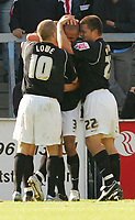 Photo: Frances Leader.<br />Wycombe Wanderers v Chester City. Coca Cola League 2.<br />01/10/2005.<br /><br />Chester's Carl Regan celebrates his goal against Wycombe.