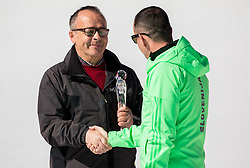 Rajko Dolinsek, retired journalist of Radio Slovenija with Life work Award and Enzo Smrekar of SZS during Ski Flying Hill Team Competition at Day 3 of FIS Ski Jumping World Cup Final 2016, on March 19, 2016 in Planica, Slovenia. Photo by Vid Ponikvar / Sportida