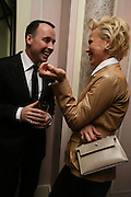DAVID FURNISH AND DIANA JENKINS, Dinner hosted by Elizabeth Saltzman for Donatella Versace. Claridge's Hotel, Brook Street, Mayfair, London. 11 March 2008.  *** Local Caption *** -DO NOT ARCHIVE-© Copyright Photograph by Dafydd Jones. 248 Clapham Rd. London SW9 0PZ. Tel 0207 820 0771. www.dafjones.com.
